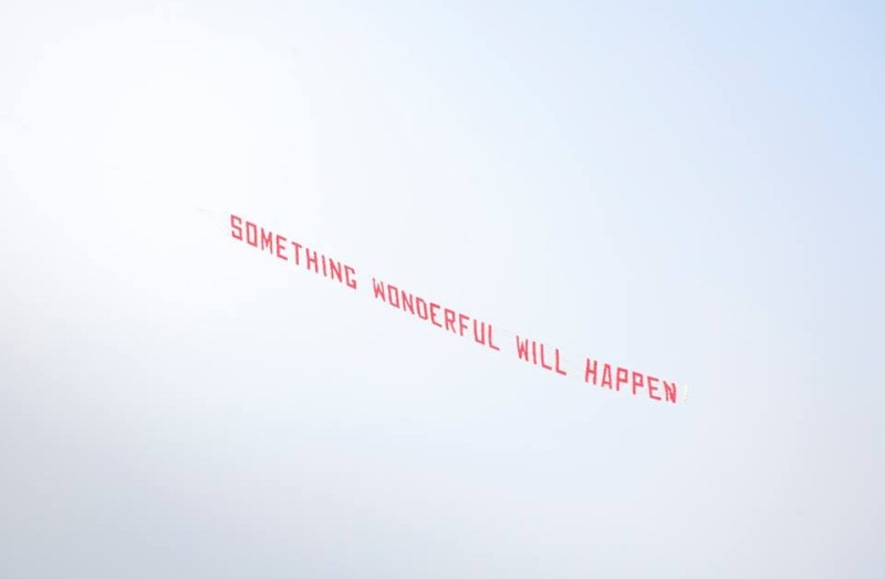 Frome's slogan by Ruth Proctor. All over the town and in the sky.