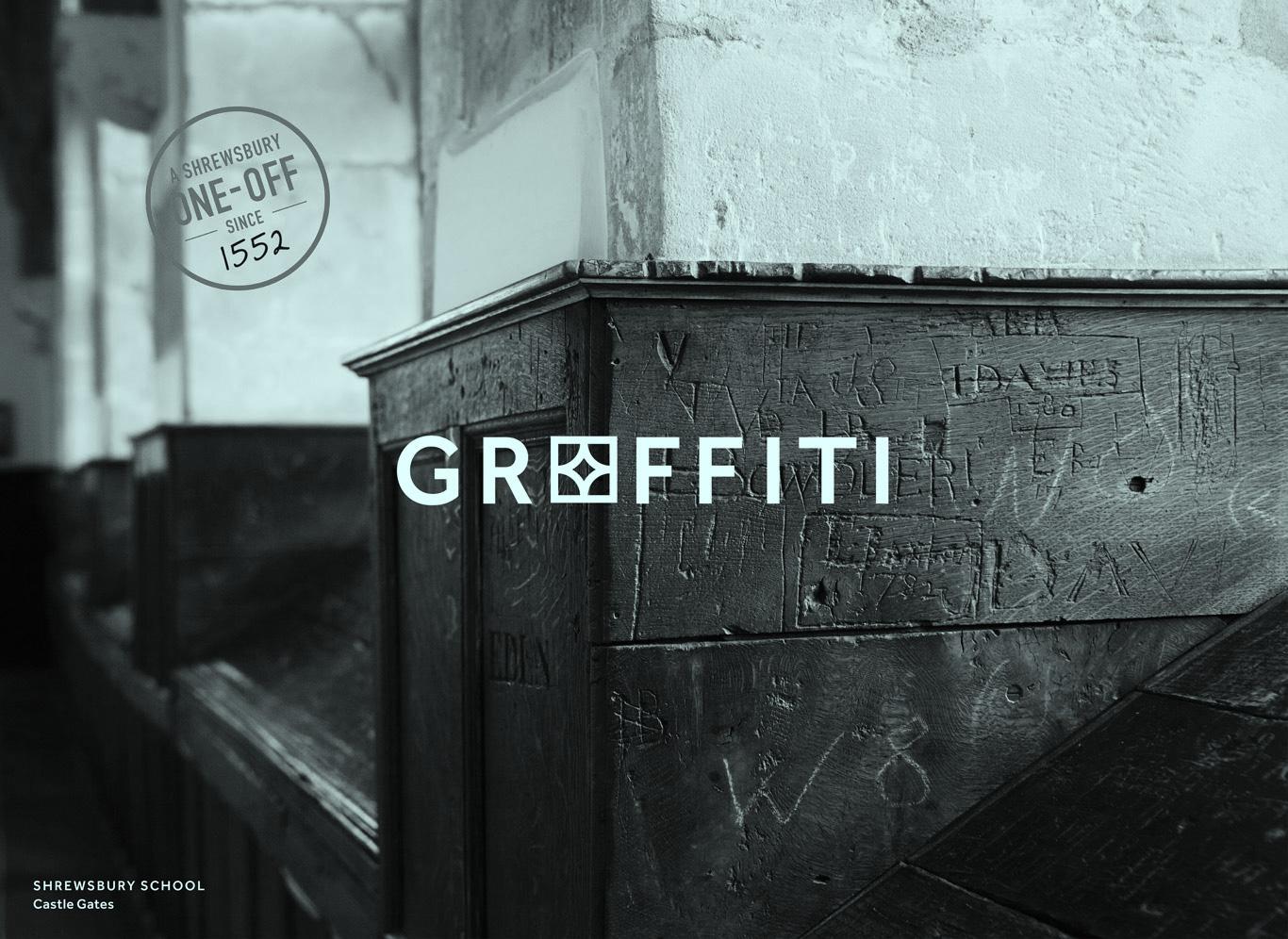 Shrewsbury School graffiti - a Shrewsbury one-off since 1552.
