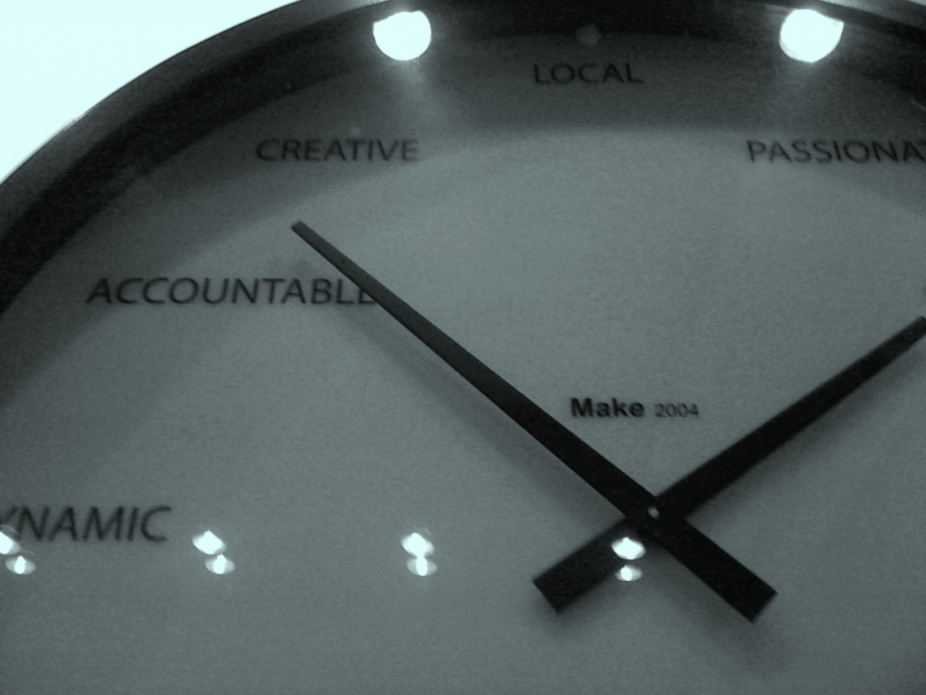 Clock hands pointing to brand values. (Yes, this is real.)