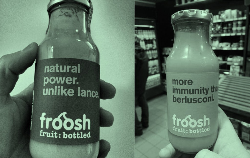 Labels from Froosh, a Swedish smoothie brand.