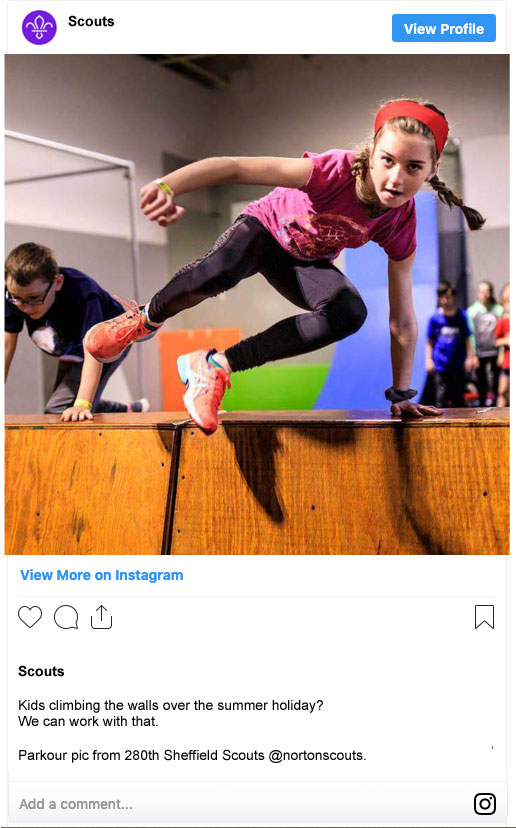 Instagram post example for Scouts.