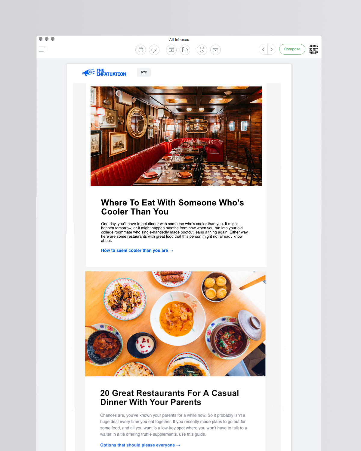 Email newsletter from Infatuation NYC.