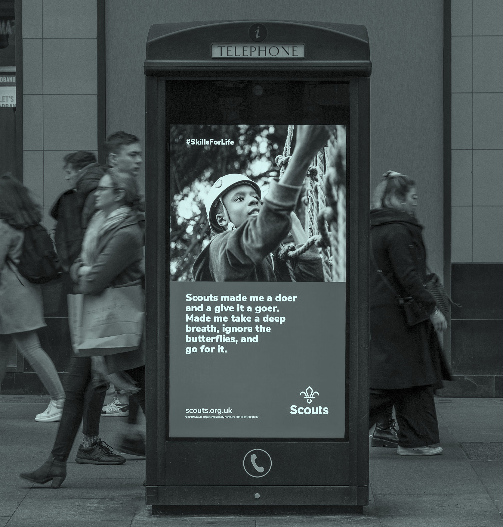 Wordy outdoor ads for Scouts