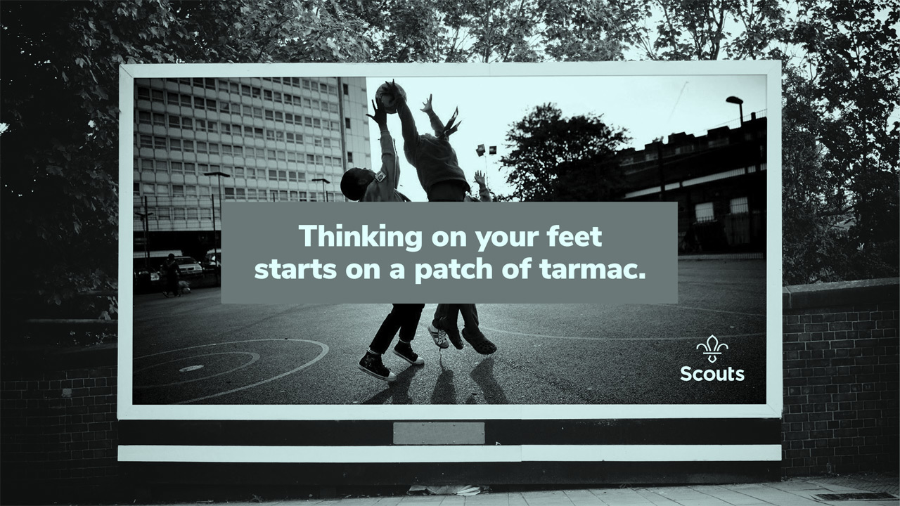 Scouts ad: thinking on your feet starts on a patch of tarmac.